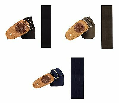Folk Classic Jazz Cotton Acoustic Electric Bass Guitar Strap Suede Leather Head