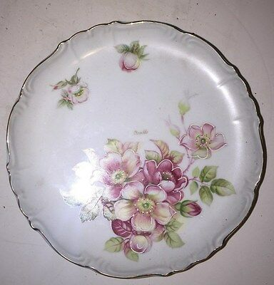 Antique ceramic porcelain marked Hand painted floral compote dish European Renee