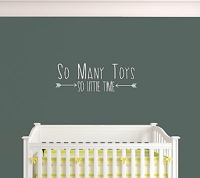 Adorable Nursery Quote 'So Many Toys' Easy Apply Wall Art Decal Sticker