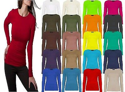 New with tag Plain Long Sleeve Round Neck Top Womens Ladies Girls