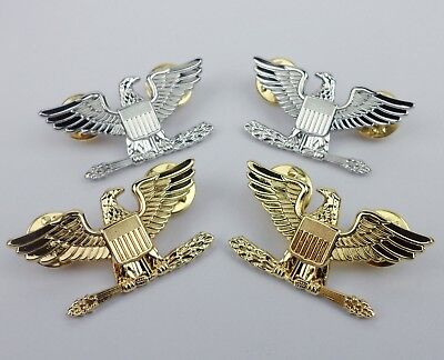 Two Pairs Us Army Officer Colonel Rank Insignia Badge Us Army Eagle Pin-258