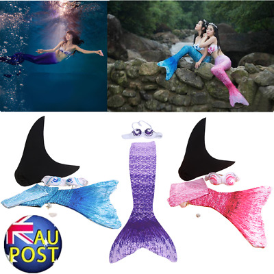 3PC Trendy Children Girls Mermaid Tail Swimmable Bikini Swimming Swimsuit Set CG