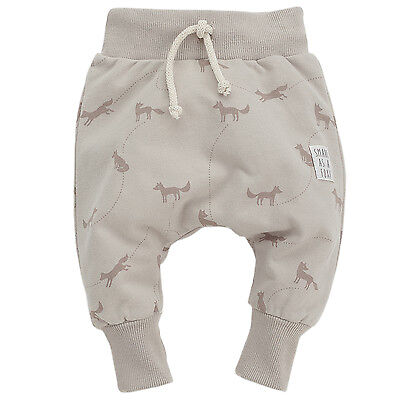 BabyToddler Harem Trousers Cotton Elasticated Waist Beige Size 3 6 9 12 18 Mths