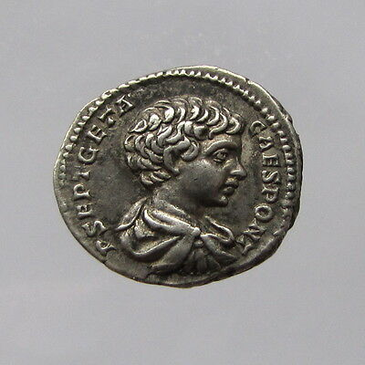 Geta as Caesar Silver Denarius Reverse: Emperor in Military Attire