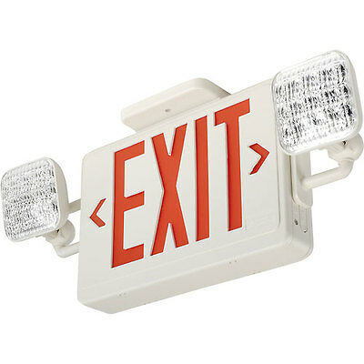 NEW LED Exit Sign & Emergency Light - RED Letters