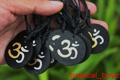 10 Handmade Hand-painted Wooden Gold Silver OHM Cotton Necklaces Wholesale