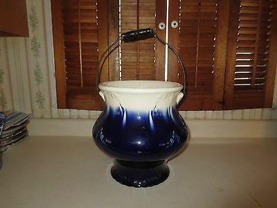 Old Flow Blue? Wire & Wood Handled Chamber / Slop Pot