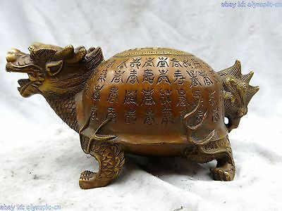China brass copper fine beautiful lucky longevity Dragon Turtle Sculpture Statue