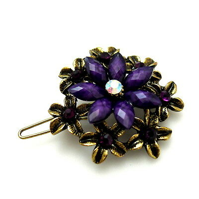 Purple Jeweled Crystal Flower Antiqued Gold Filigree Barrette Thin Hair Clip Pin