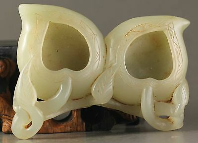 Chinese old hetian natural jade hand-carved double writing brush Washer NO.Y186