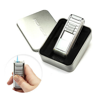Ronson Curtain Silver Cigarette Cigar Lighter Gas Wind Proof Jet Flame Gift Box