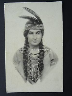 Pretty Girl AMERICAN INDIAN SQUAW c1912 Postcard by Schlesinger Bros of New York
