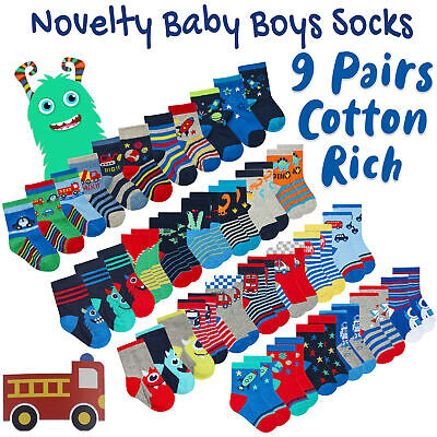 9 Pairs Infant Toddler Baby Boys Socks Cotton Rich Low Cut Animal Dino Designs
