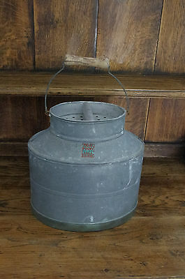 French Vintage Fishing Bait Bucket Galvanised Florist Vase Creel Storage Paris