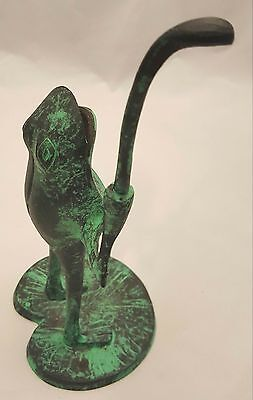 Golfing Frog Metal Figurine 8 inches tall Heavy!