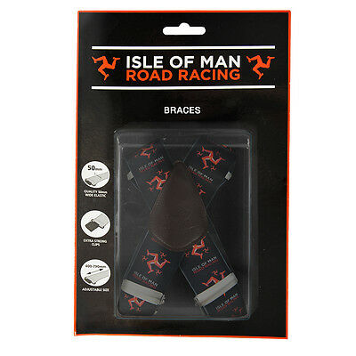 Isle OF Man TT Black/Red Heavy Duty Elasticated BRACES One Size Strong Clips