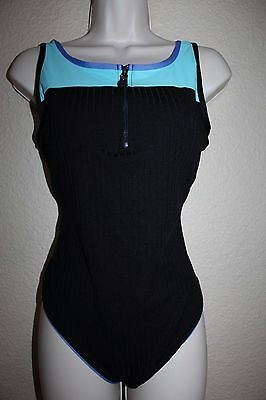 Vintage 80s 90s Style Ribbed Swimsuit Zip One Piece Large Bathing Suit Zipper