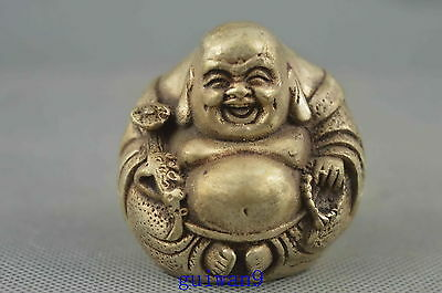 Collectible Old Miao Silver Carves Ancient Joyous Buddha Moral Auspicious Statue