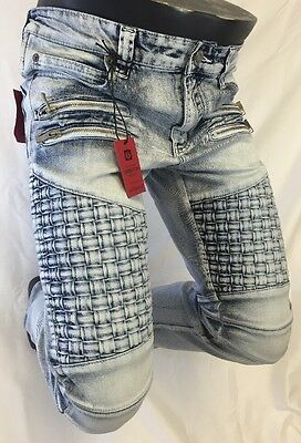 Mens Jean VICTORIOUS Straight Leg DESTROYED BLUE WEAVED ZIPPERS PATCHES DL1042