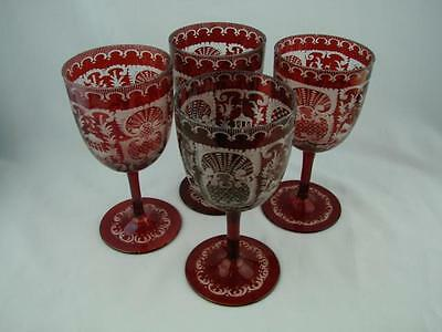 Gorgeous Set Of Four Bohemian Ruby Red Wine Glasses With Etched Design