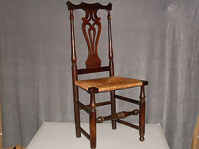 Antique Yokeback Queen Anne Style Side Chair. Woven rush seat, solid & stylish
