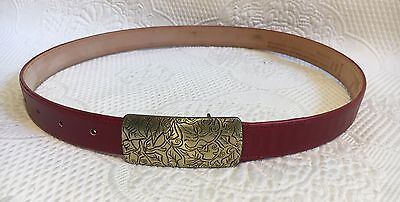 Vintage Women's COACH Red Belt - Etched Brass Buckle.