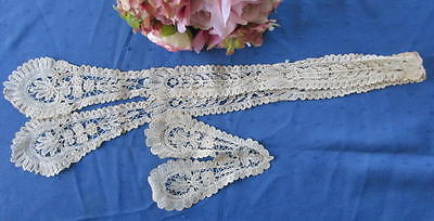 Lovely Antique Hand Made Brussels Duchesse Lace Lappet & Matching Neckpiece