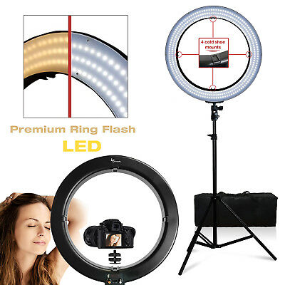 "NEW 18"" 55W 240PCS LED SMD Dimmable Ring Video Light W Stand Phone Mount"