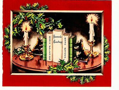 Vintage Christmas Card Scottie Dogs Bookends Books Candles