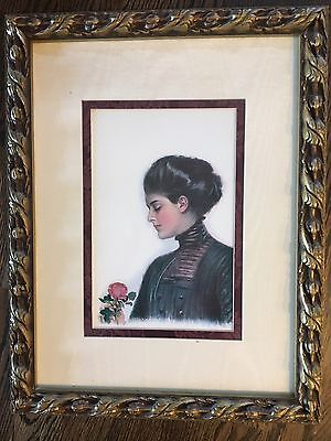 Antique Vintage Lithograph Fabric Matted Framed Print Picture Lady Woman Rose