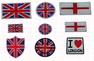 England flag union jack iron on patch shield  smiley face flag