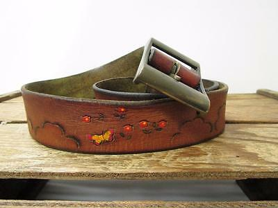 VINTAGE 1970s Tooled Cloud & Painted Butterfly Brown Leather Hippie Belt Size 34