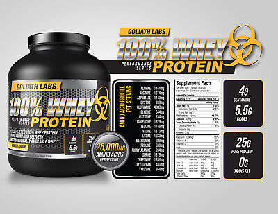 Whey Protein Powder 5 lb Monster Muscle 100% Cold Filtered Free Shipping