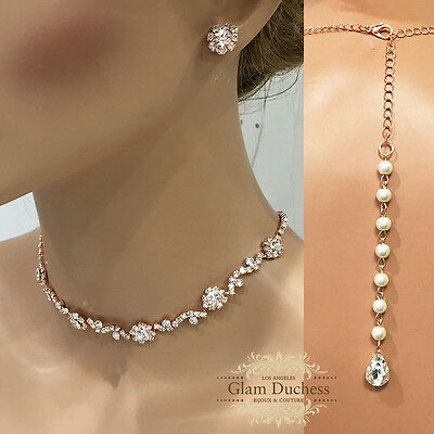 Rose gold Wedding crystal choker bridal jewelry fashion necklace earrings set