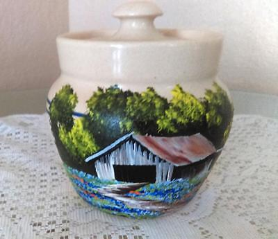 Vintage Hand Turned & Painted Yesteryears Butter Pot w/Lid - Tags Attached