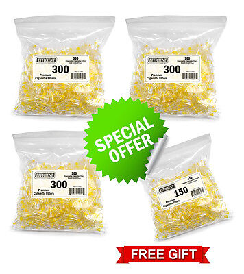 900 EFFICIENT Cigarette Filters Bulk Economy Pack With Free Extra 150 Filters