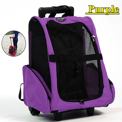 Pet Dog Trolley Carrier Stroller Airline Travel Backpack Push Wheel Cage Purple