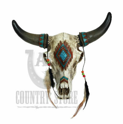 Rustic Southwest Bull Skull Feathers Beads & Faux Turquoise Stones Wall Hanging
