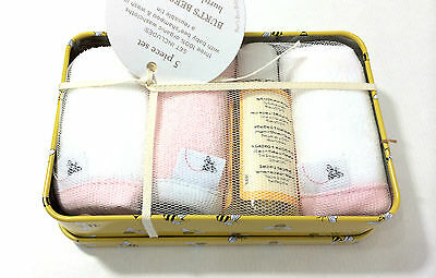 Burt's Bees Baby Organic Washtime Tin 5 Piece Pink Bath Set Girl New