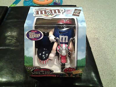 M&M Red,White & Blue Motorcycle Candy Dispenser Limited Edition