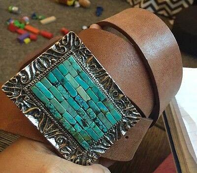Gorgeous Ladies Brown Leather Belt W Turquoise Chip Buckle Xl L Boho Western
