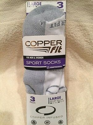Copper Fit For Men/Women Sport Socks LARGE 3 pairs NEW/FREE SHIPPING!