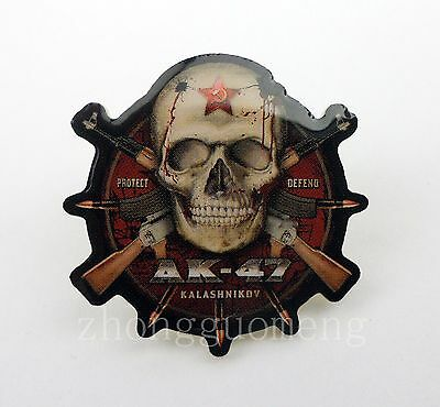 Military Army Specia Force Ak-47 Morale Badge Skull Pin Protect Defend-259