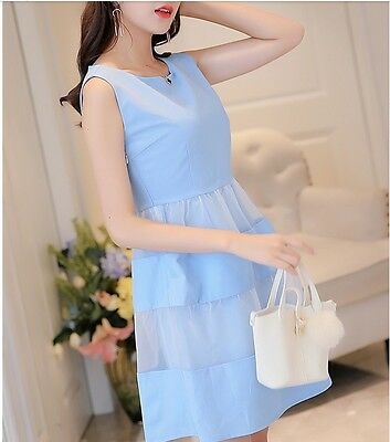 f21926f72d20 Cute Summer Korean Style Leisure Sleeveless Organza Spliced Loose Casual  Dress