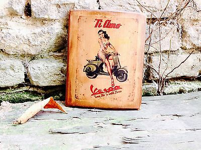 Vintage Vespa and Girl Wooden Picture Home Decor Wall Decor Motorcycle Art