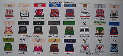 Lego Custom Minifig Decal Set He-Man Masters Of The Universe Set 3  24 Fig. Lot