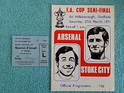 1971 - FA CUP SEMI FINAL PROGRAMME + MATCH TICKET - ARSENAL v STOKE CITY