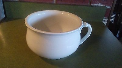 Antique Chamber Pot White Ceramic with Side Handle