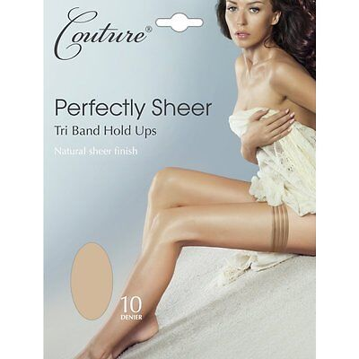 Couture Perfectly Sheer Tri Band Hold Ups Medium/Large Black and Nude