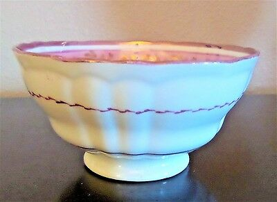 Antique Victorian Staffordshire Pink Luster Ware Sugar Bowl Beautiful